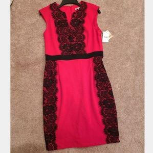 New Danny & Nicole Red Black Lace Midi Shift Dress